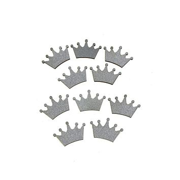 Royal Crown Glitter  Wood Favors, 1-1/2-Inch, Silver, 10-Piece