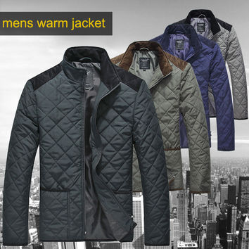 FREE SHIPPING Lesmart 2014 Winter mens padded jacket fashion business casual quilting patchwork down jacket outerwear for men