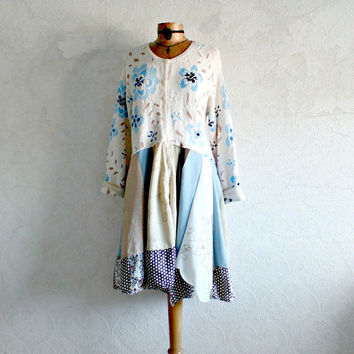 Shabby Chic Plus Size Blue Sweater Coat Upcycled Jacket Cream Lagenlook Cardigan Rustic Eco Clothing Womens Boho Duster Coat XL 1X 'ASTRID'