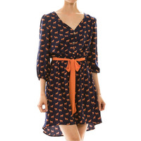 Retro horse dress orange and navy cute quirky pony dresses womens woodland clothing ponies horses vintage inspired screen printed tunic