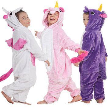 Unicorn Pyjamas Kids Pajamas For Girls Pijama Bathrobe Cosplay Anime Animal Children Onesuit Boy Girl Sleepers Fleece Flannel