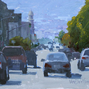 One Way - 8 x 10 Inch Original Oil Painting of the City with Cars - San Francisco Painting - Urban Painting - Office Art - Man Cave Art