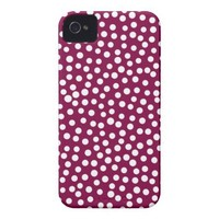 Maroon White Polka Dots Pattern Case-Mate iPhone 4 Case from Zazzle.com