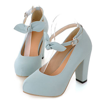 Sweet High Thick Heel Round Last Women Thin Shoes Buckle  blue