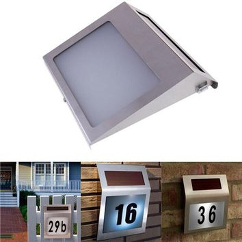 Solar Powered Stainless Steel 3 LED Doorplate Lamp House Number and Letters Light
