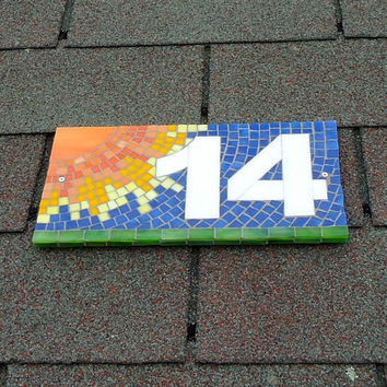 Decorative Sun Outdoor Mosaic House Number Sign, Stained Glass