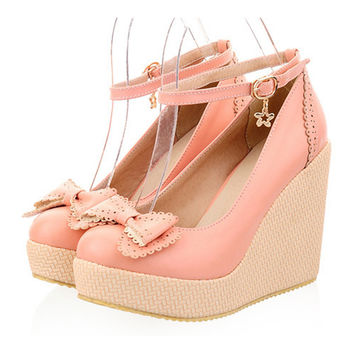 Thin Shoes Slipsole Bowknot Buckle  pink