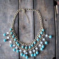 Boho Blue Beaded Necklace