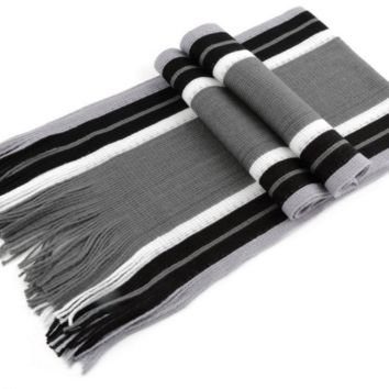 Black Striped Grey Winter Scarf