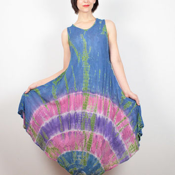 Vintage Hippie Dress Blue Purple Pink Green Tie Dye Dress Gauze Dress Midi Dress Boho Festival Bohemian Sundress OS S M L XL Medium Large