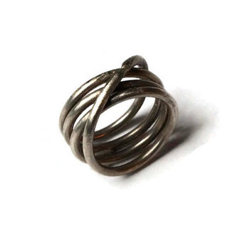 Silver Helix Ring, Wrapped Silver Ring