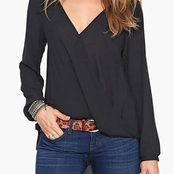 Solid Color V-Neck Long Sleeve Chiffon Blouse