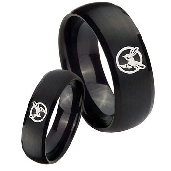His Hers Honey Bee Brush Black Dome Tungsten Carbide Wedding Rings Set