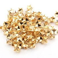 TOOGOO(R) 100x Gold 8mm Pyramid Studs Spots Punk Nailheads Spikes for Bag Shoes Bracelet