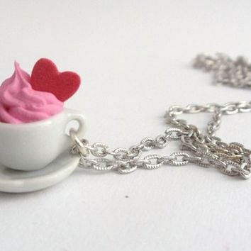 coffee cup necklace Pendant - miniature ceramic Charm cup of coffee and saucer with whipped cream and red heart pink frosting tea cup