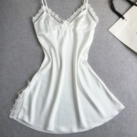Sexy women's summer style nightgowns MINI nightwear silk sleepwear with lace flower suspenders white home wear
