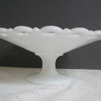 Vintage Milk Glass Pedestal Compote Anchor Hocking Lace Edge Compote Large White Fruit Bowl Old Colony Lattice Edge Centerpiece