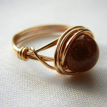 Goldstone Ring, Wire Wrapped Jewelry Handmade, Goldstone Jewelry, Wire Wrap Ring, Glitter Ring, Sparkle Ring