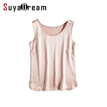 100% pure REAL SILK  women tank tops basic Solid tank Sleeveless Top femininas Satin shirt Black White 2016 Summer Spring
