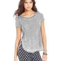Eyeshadow Juniors' Heathered Round-Hem Tee