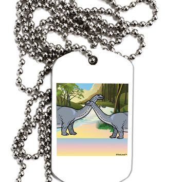 Diplodocus Longus - Without Name Adult Dog Tag Chain Necklace by TooLoud