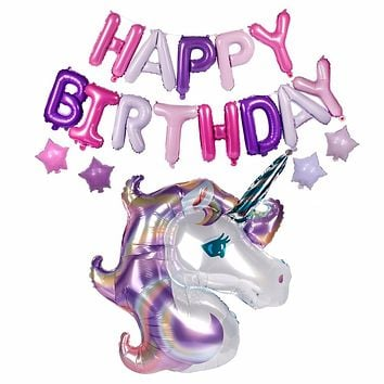 FENGRISE 18pcs/Set Unicorn Balloon with Happy Birthday Letter Balloons Birthday Party Decorations for Kids Unicorn Party Favors