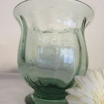 Vintage Handblown Green Glass Short Flower Vase - Catch All for All Things Small - Collectible - Collector - Awesome Gift Idea - Centerpiece
