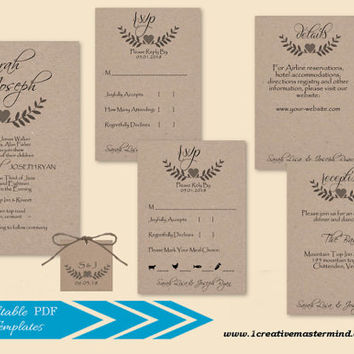 DIY Wedding Invitation Set Template, RSVP, Details Card,Reception, monogram tag, Instant Download, Digital, Kraft Lover's Twigs #1CM84-1
