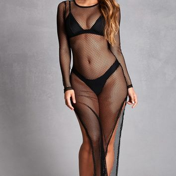Sheer Fishnet Maxi Dress