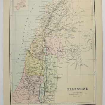 1875 Vintage Palestine Map, Oceania, Pacific Ocean Islands Map, 1875 Johnston Map, Palestine Holy Land Map, Tropical Islands Polynesia Map