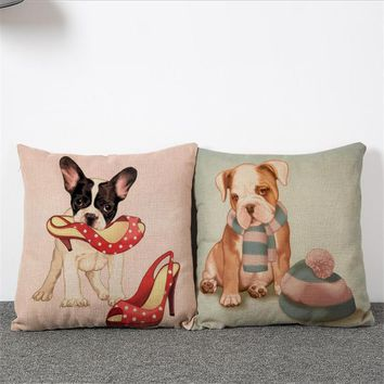 Set of 2 pcs Cute Doggy Decorative Throw Pillowcase Linen Cushion Cover Zipper Pillowslip For Living Room Sofa Couch Back Seat