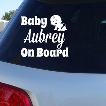 Custom Baby On Board w/ name Car Window Decal | Car Decals Baby Shower Gift
