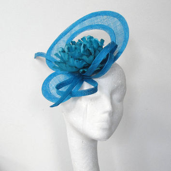 Dark Turquoise Fascinator Hat for Kentucky Derby, Weddings and Parties with Headband