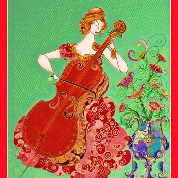 Music Wall Art - Cello -  Feminine Art - Art Nouveau Style Print - Women Print - Whimsical Print - Women Decor - Hollywood Regency-