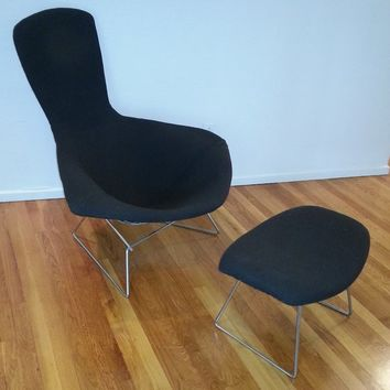 Original Bertoia Bird Chair and Ottoman, By Knoll