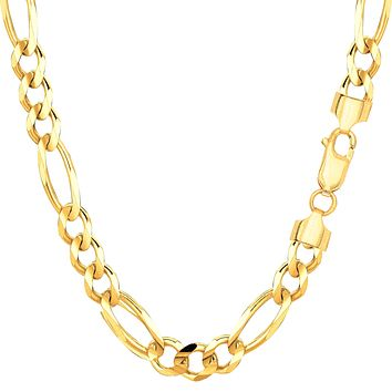 14k Yellow Solid Gold Figaro Chain Bracelet, 6.0mm