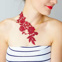 Lasata // Statement Necklace/ Burgundy Necklace/ Lace Necklace/ Lace Fashion/ Floral Necklace/ Women Accessory/ Gift For Her/ Woman Fashion