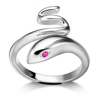 New 1 PC Fashion elegant cute Snake ruby Silver Plated cool jewelry Open-end Rings for women