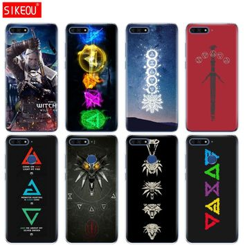 Silicone Cover Phone Case For Huawei Honor 7A PRO 7C Y5 Y6 Y7 Y9 2017 2018 Prime The Witcher 3 Wild Hunt symbol signs