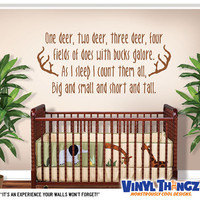 Hunting Wall Decal - Boys Room Decor - Deer Wall Decal - Baby Shower Gift - One Deer Two Deer Vinyl Decal
