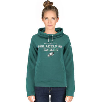 Women's Philadelphia Eagles Nike Midnight Green Stadium Rally Funnel Pullover Hoodie