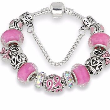 Antique Silver Bracelets for Breast Cancer Awareness