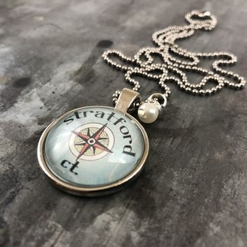 Stratford CT Compass Pendant with Hand Wrapped Bead 24-in