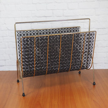 Midcentury Modern Magazine Rack Black and Gold Pierced Metal / Vintage Home Decor