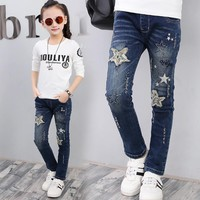Hurave 2017 Baby Girls Jeans Pattern Kids Appliques Jeans Children Spring Pants Cute Girls Fashion Trousers Denim