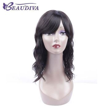 ESBG8W BEAUDIVA Pre-Colored 1B# Natural Color Wavy Human Hair Wigs 18' Human Hair Whole Machine Wigs For Black Women