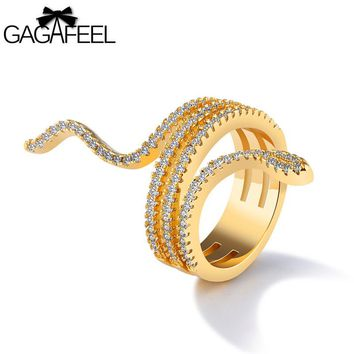 GAGAFEEL Snake Finger Ring With Full Cubic Zircon Gold Color Animal Multiple Layers Rings For Women Simple Jewelry Size 6 7 8 9