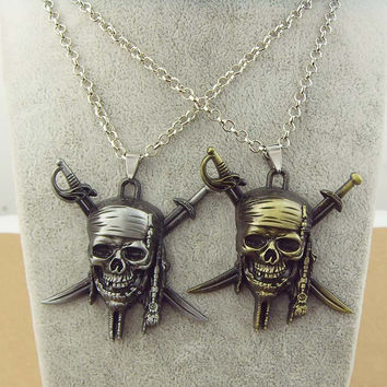 Hot Chic Accessories Film/Movie crossbones skull necklace Pirates of the Caribbean JACK SPARROW AZTEC bronze pendant necklace