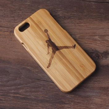 Real Natural Wooden Bamboo Basketball Gifts Jordan Pattern Iphone 6 4.7/ Iphone 6 Plus