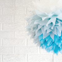 party decoration ...  blue ombre  ... 1 Tissue paper pom //weddings // nursery // baby shower // birthday party // gender reveal //
